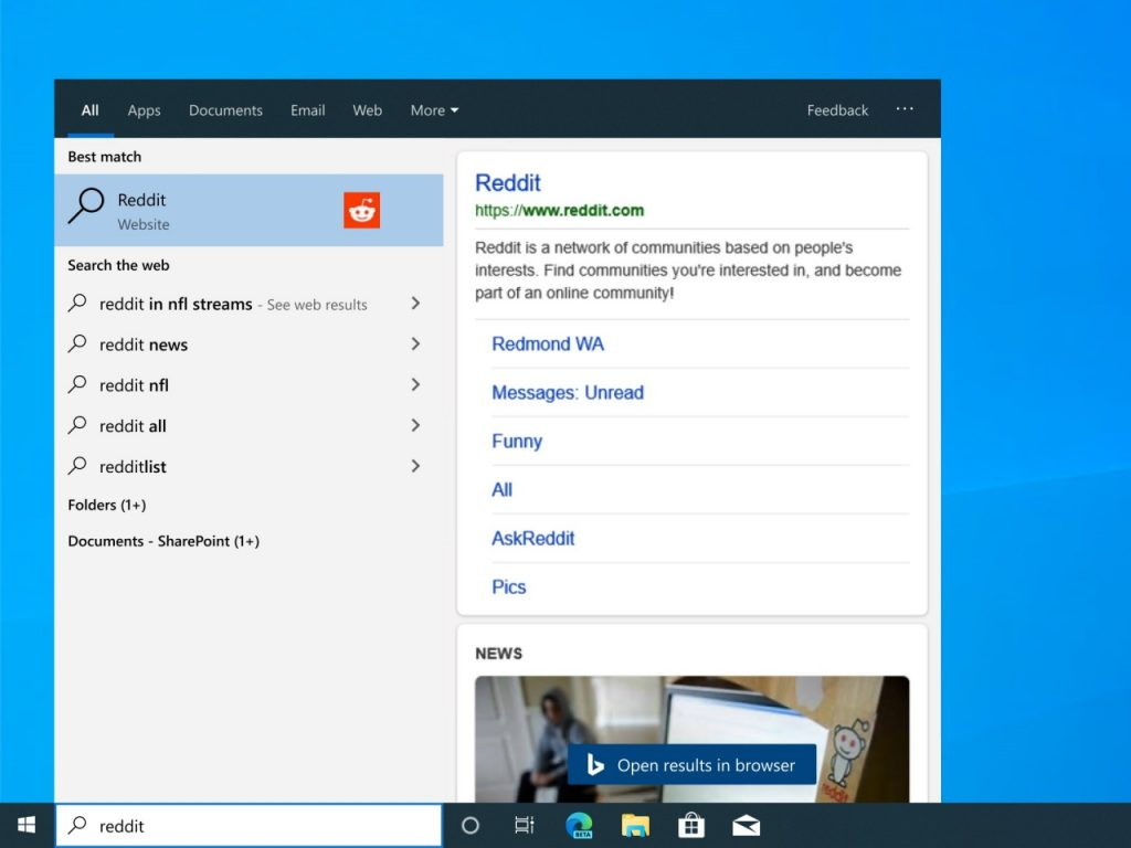 Windows search bar turns into browser