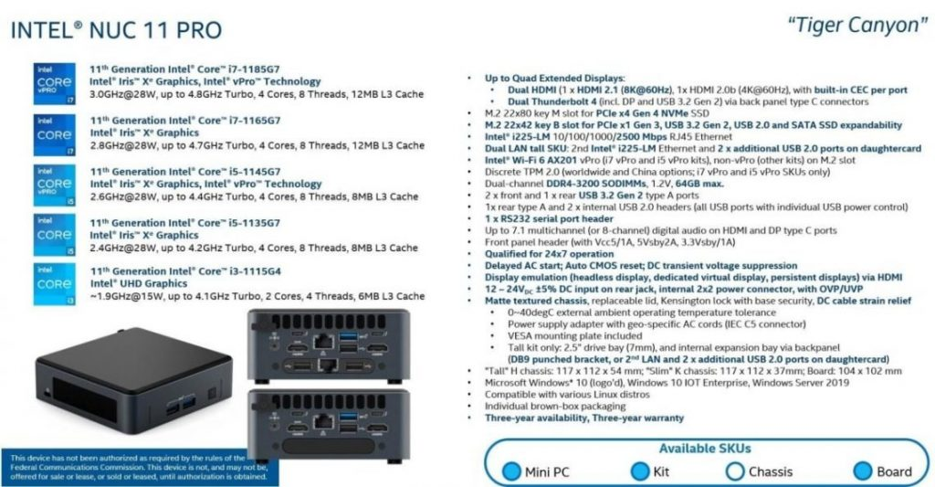 Intel NUC 11 PRO Tiger Canyon Family Details 1