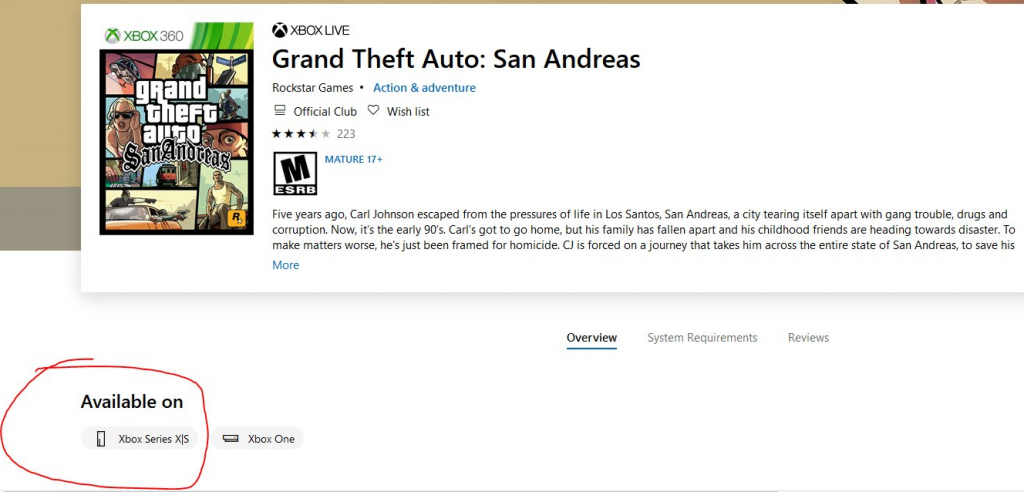 GTA San Andreas is coming to Xbox Series Xs.