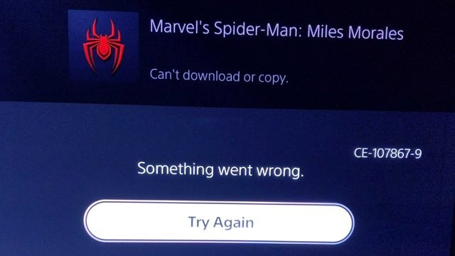Unable to Download Copy Error Appears on PlayStation 5 from Day One