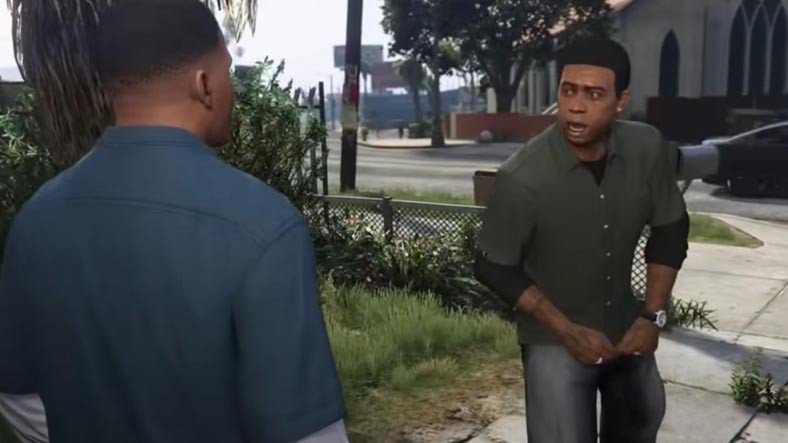 GTA 5 Franklin and Lamar portray a scene in the game