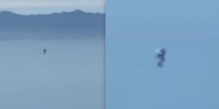 Mysterious Jetpack man in Los Angeles is pictured flying through the sky