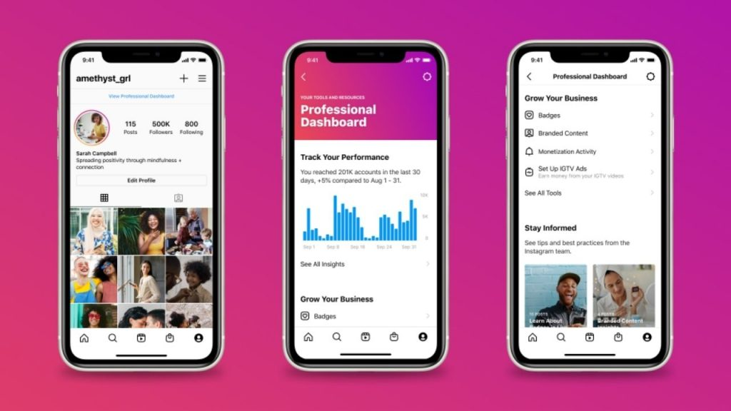 Professional Dashboard for businesses from Instagram