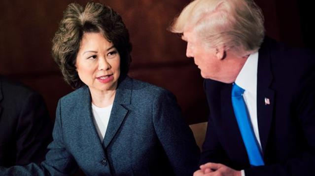 The first resignation from Trumps cabinet Transport Minister Elaine Chao leaves her post