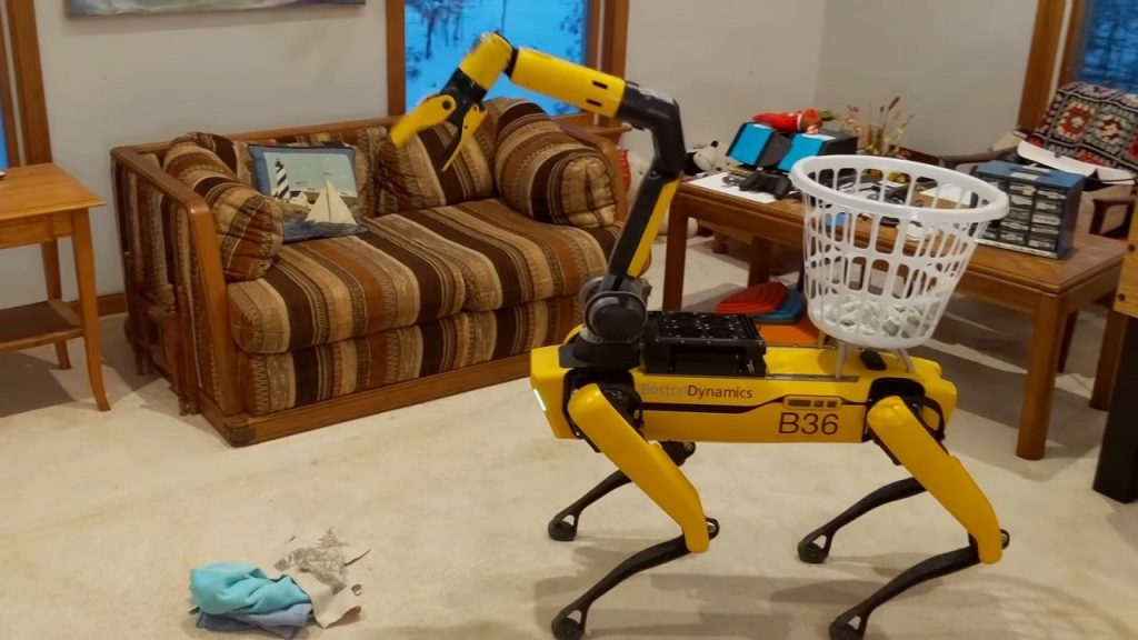 Boston Dynamics robot Spot in house cleaning