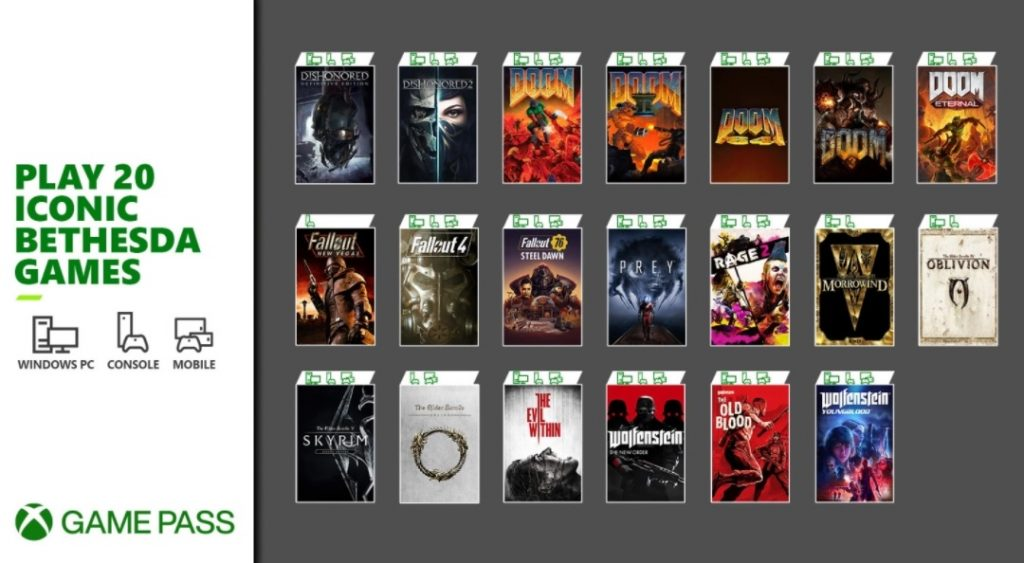 Bethesda games coming to Xbox Game Pass 1