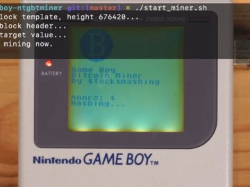 Bitcoin mining trial with Game Boy
