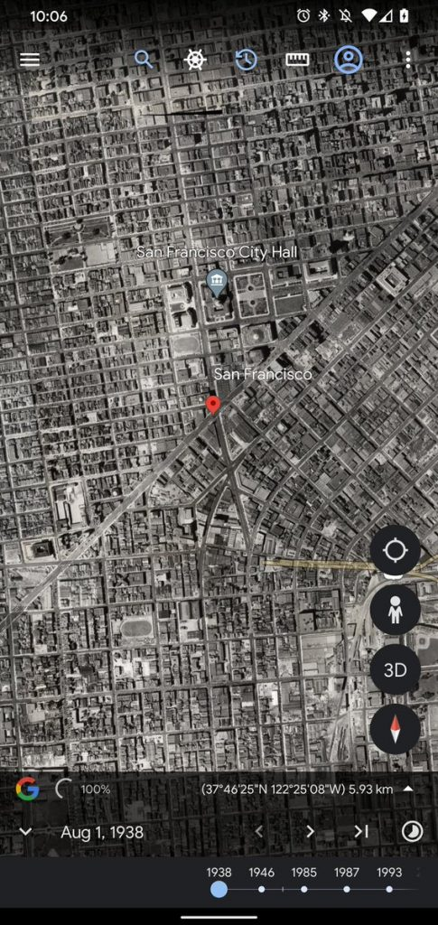 Google Earth for Android traveled through time 1