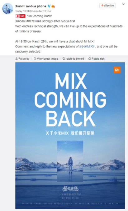 The expected announcement for the Xiaomi Mi Mix series has arrived 1