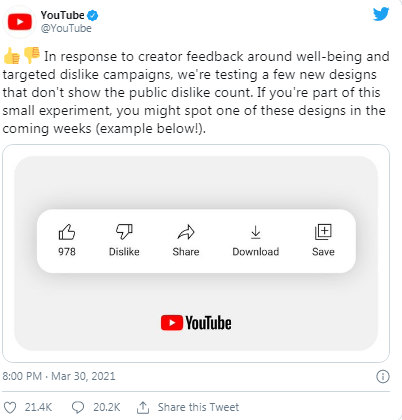 YouTube wont show video dislikes count to some users 1