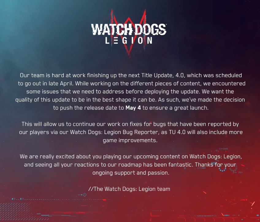 Bad news for Watch Dogs Legion fans 1