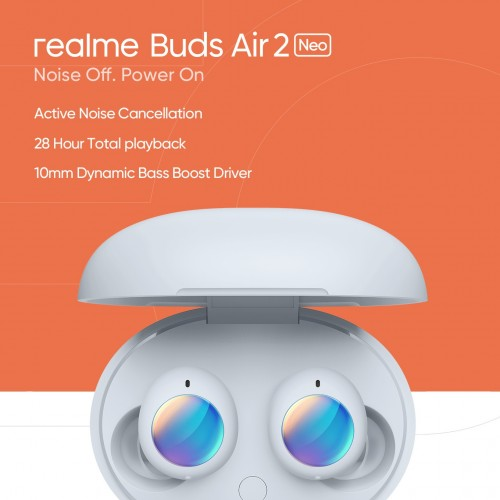 Realme Buds Air 2 Neo headphones come with active noise cancellation on April 7