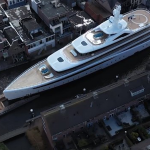 Thats how the 300 foot luxury yacht went through the narrow canal