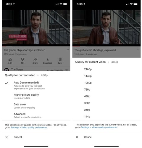 YouTube brings new video resolution controls to mobile devices