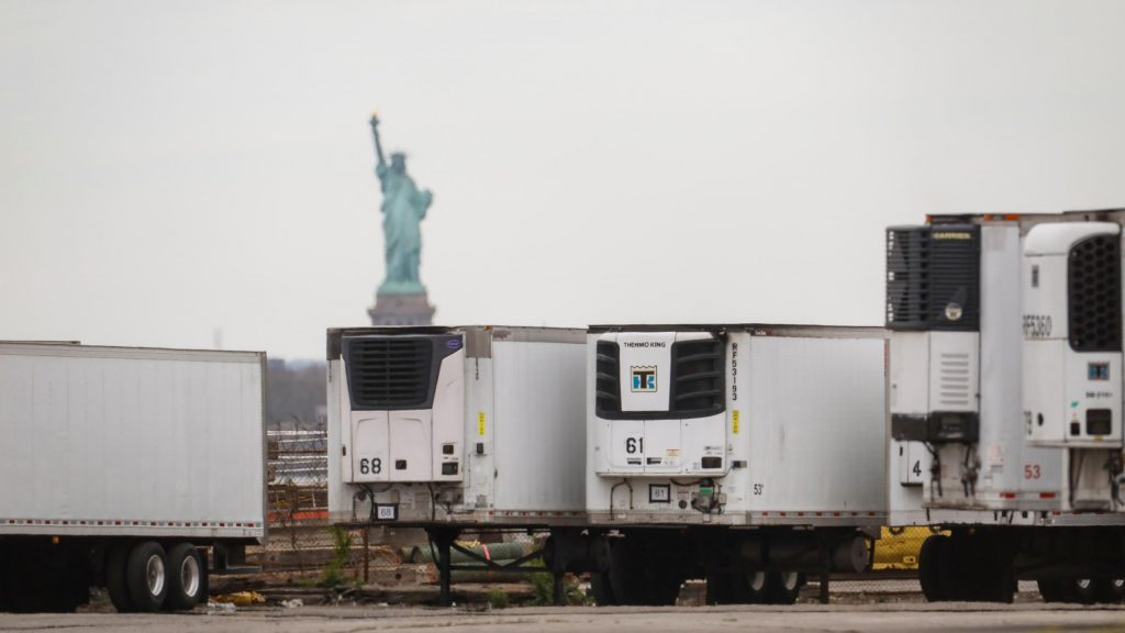 Hundreds of bodies have been kept in trucks for a year in New York