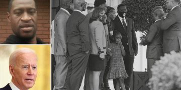 US President Joe Biden welcomes George Floyds family to White House on the anniversary of his death