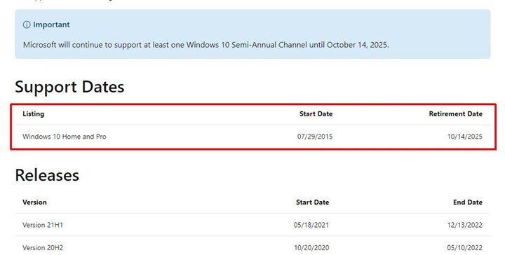 The end date of Windows 10 support has been announced 1